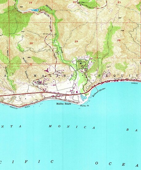 Map Of California Malibu.Vintage Map Of Malibu California 1950 Posters By Bravuramedia