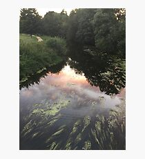 Blandford Forum, sun set, clouds, river. Photographic Print