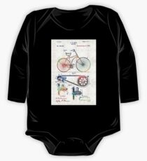 Colorful Bike Art - Vintage Patent - By Sharon Cummings One Piece - Long Sleeve