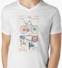 Colorful Bike Art - Vintage Patent - By Sharon Cummings Mens V-Neck T-Shirt