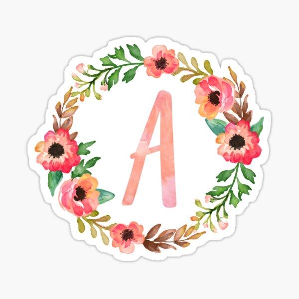 Pink Floral A Sticker