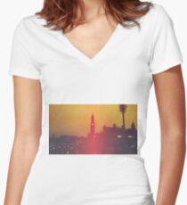 Surreal City Silhouette Women's Fitted V-Neck T-Shirt