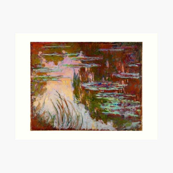 Water-Lilies, Setting Sun Monet Fine Art Art Print
