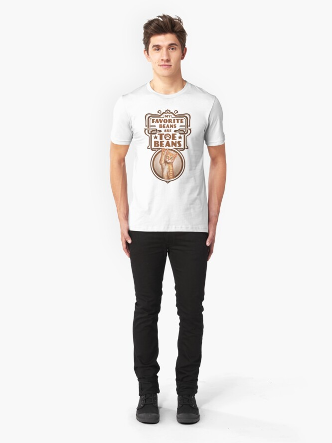 Alternate view of My Favorite Beans Are Toe Beans (Cat) Slim Fit T-Shirt