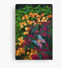 Colorful Flower Mix With Butterfly Canvas Print