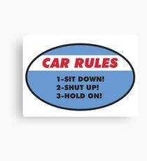 Funny Car Rules Sticker Canvas Print