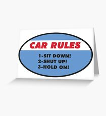 Funny Car Rules Sticker Greeting Card
