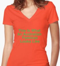 This Is What An Australian Feminist Looks Like (Classic Green & Gold) Women's Fitted V-Neck T-Shirt