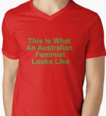 This Is What An Australian Feminist Looks Like (Classic Green & Gold) Men's V-Neck T-Shirt
