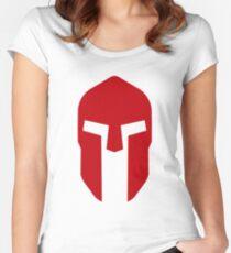 Spartan Helmet Crimson - Corinthian Type   Women's Fitted Scoop T-Shirt
