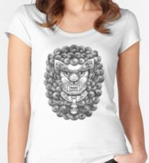 Foo Dog / Guardian Lion Pattern - Black and White Women's Fitted Scoop T-Shirt