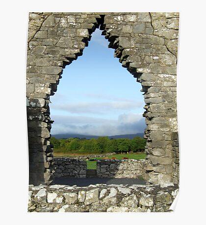 Kilmacduagh church arch view Poster