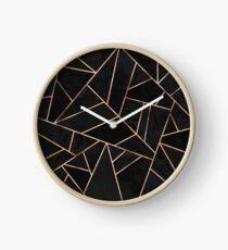 Velvet Black And Rose Gold Clock