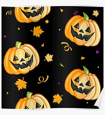 Plastic Pumpkin Print (over black) Poster
