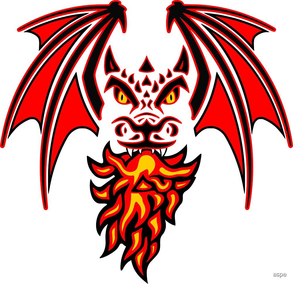 tribal dragon (red) by aspa