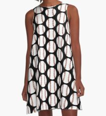 BASEBALL -Abstract Stitching Red & White on Black A-Line Dress