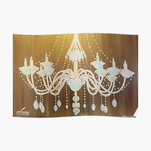 Gold Chandelier Painting Poster