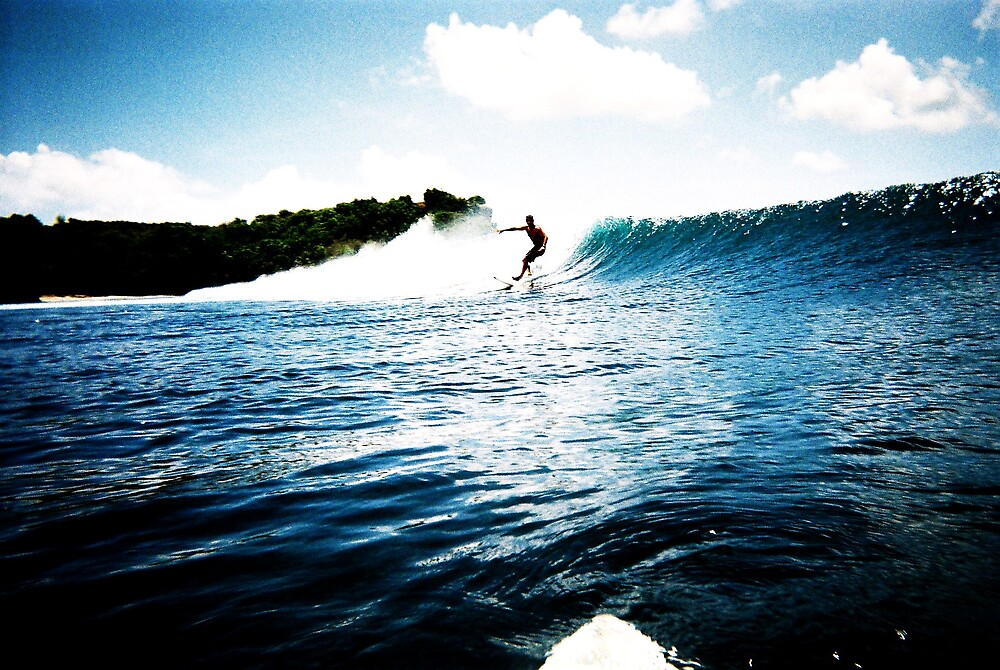 Dad surfing by Marcille Mclean