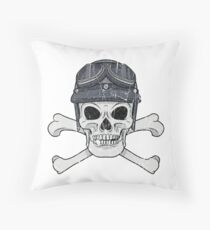 Scary Creepy Motorcycle Halloween Skull Throw Pillow