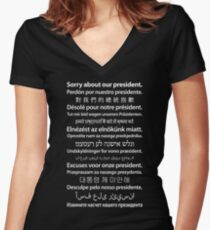 Sorry About Our President. [White on Black] Women's Fitted V-Neck T-Shirt