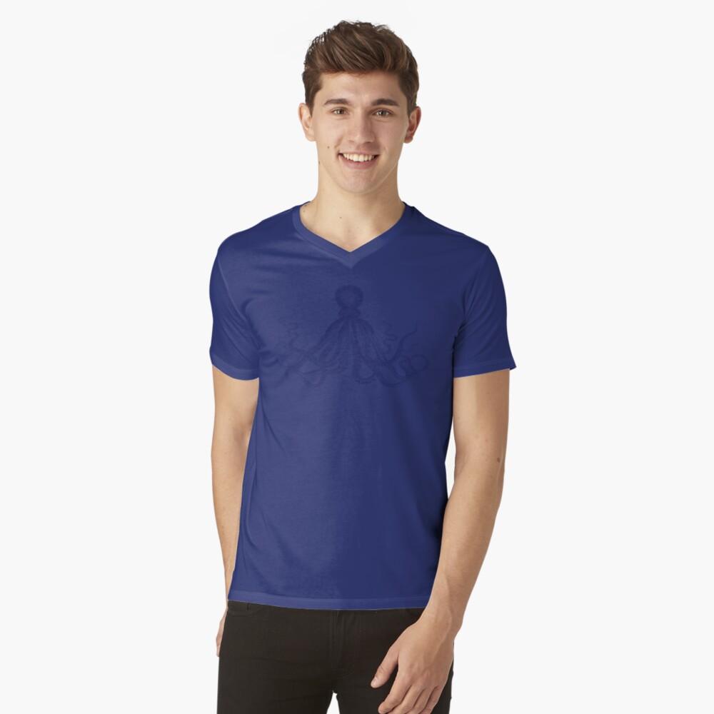Krake   Weinlese-Krake   Tentakeln   Meeresbewohner   Nautik   Ozean   Meer   Strand   Marineblau und Weiß   T-Shirt mit V-Ausschnitt
