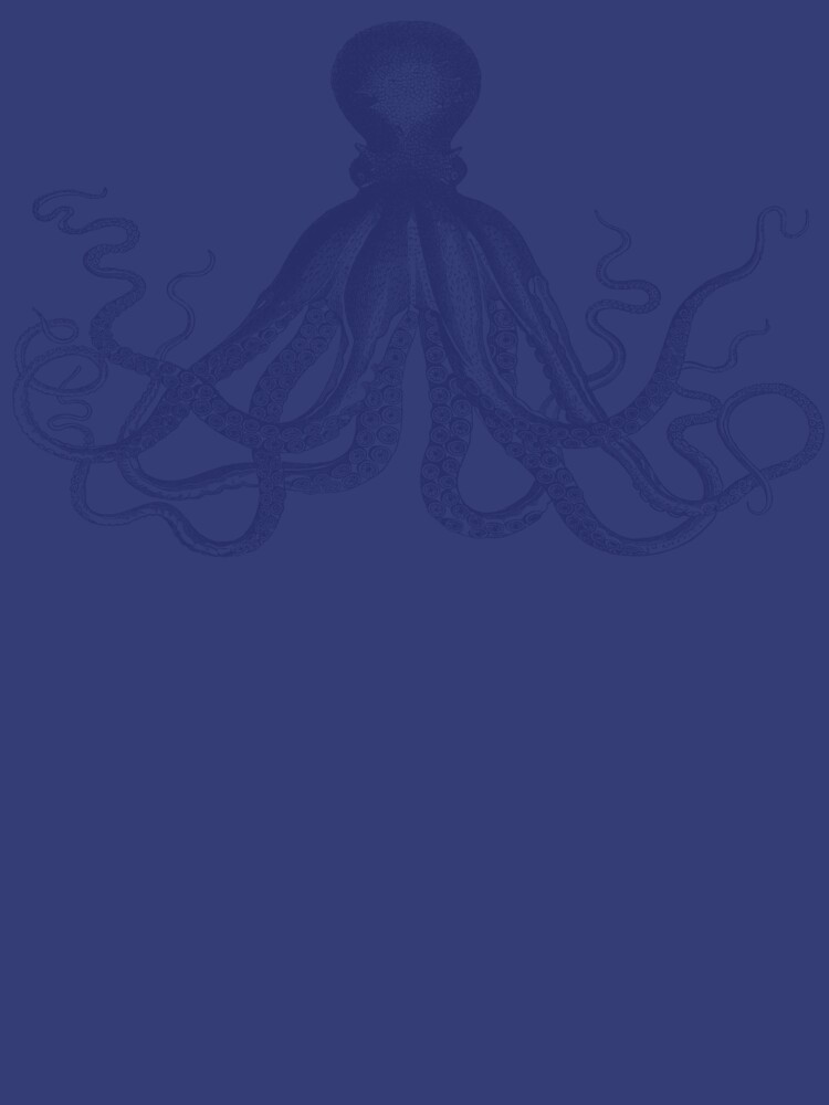 Krake   Weinlese-Krake   Tentakeln   Meeresbewohner   Nautik   Ozean   Meer   Strand   Marineblau und Weiß   von EclecticAtHeART
