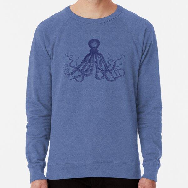 Octopus | Vintage Octopus | Tentacles | Sea Creatures | Nautical | Ocean | Sea | Beach | Navy Blue and White |  Lightweight Sweatshirt