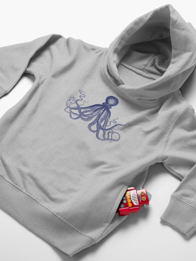 Alternative Ansicht von Krake   Weinlese-Krake   Tentakeln   Meeresbewohner   Nautik   Ozean   Meer   Strand   Marineblau und Weiß   Kleinkind Hoodie