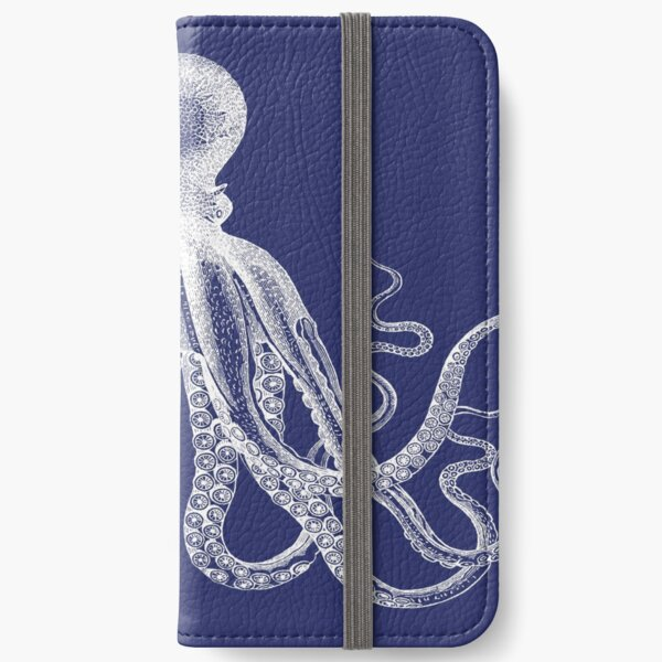 Octopus   Vintage Octopus   Tentacles   Sea Creatures   Nautical   Ocean   Sea   Beach   Navy Blue and White    iPhone Wallet