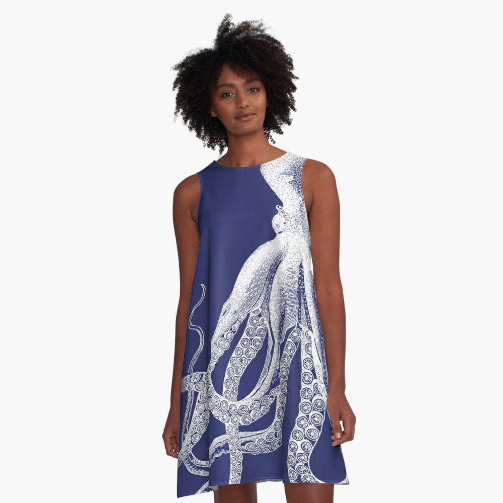 Octopus | Vintage Octopus | Tentacles | Sea Creatures | Nautical | Ocean | Sea | Beach | Navy Blue and White |  A-Line Dress