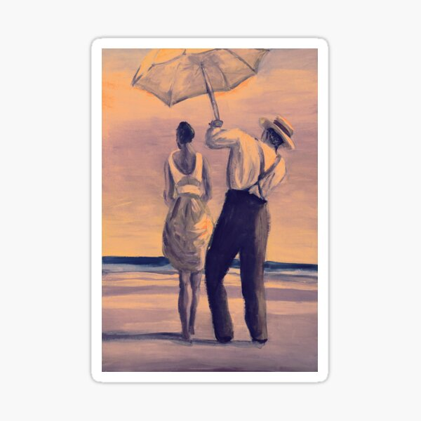 Painting of man holding umbrella for the girl at the beach  Sticker