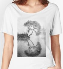Drawing illustration of tree reflected in the water  Women's Relaxed Fit T-Shirt