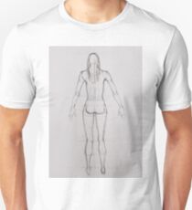 Drawing illustration of anatomy girl seen from back T-Shirt