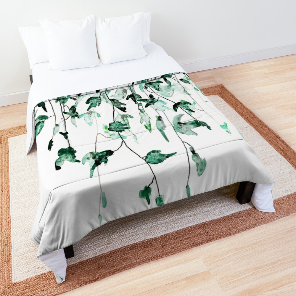 Ivy on the wall watercolor Comforter