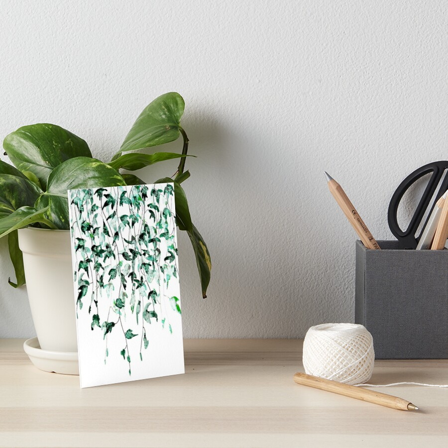 Ivy on the wall watercolor Art Board Print