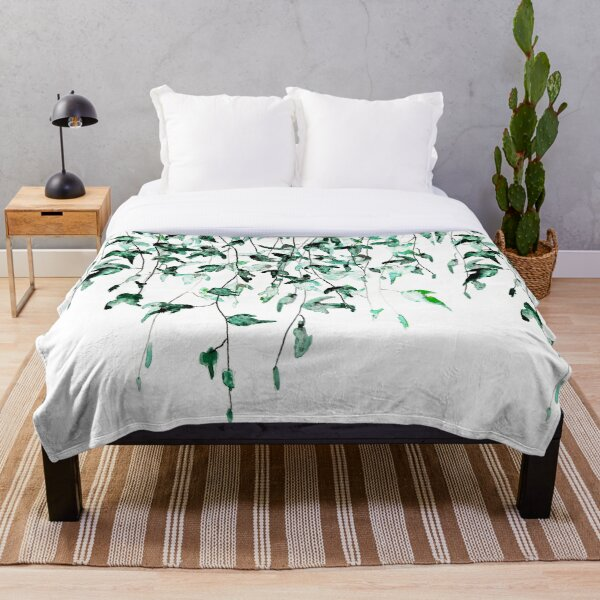 Ivy on the wall watercolor Throw Blanket