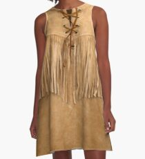 SUEDE LEATHER WESTERN SHIRT A-Line Dress