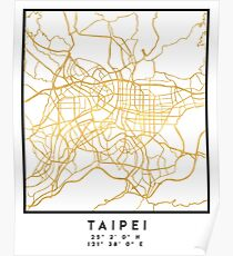 TAIPEI TAIWAN CITY STREET MAP ART Poster