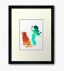 Princess and tiger Inspired Silhouette Framed Print
