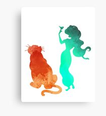 Princess and tiger Inspired Silhouette Metal Print