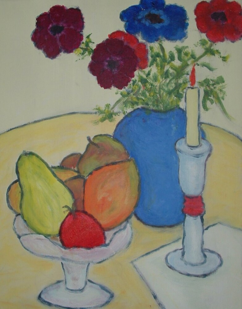 Flowers, Candlestick & Tropical Fruit by bvpainter