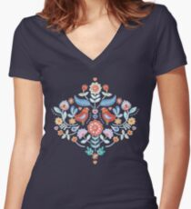 Happy Folk Summer Floral on Navy Women's Fitted V-Neck T-Shirt