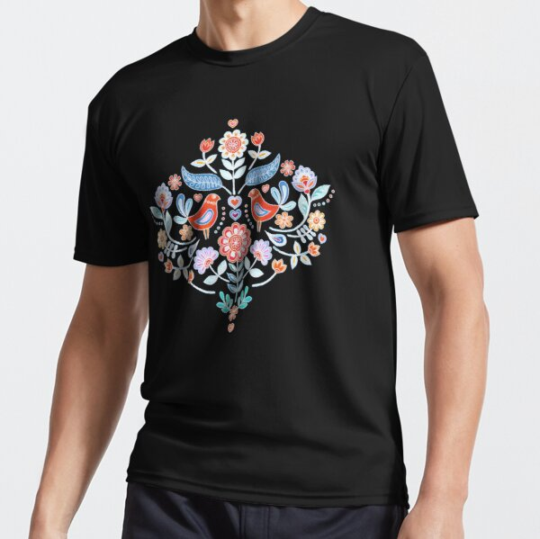 Happy Folk Summer Floral on Navy Active T-Shirt