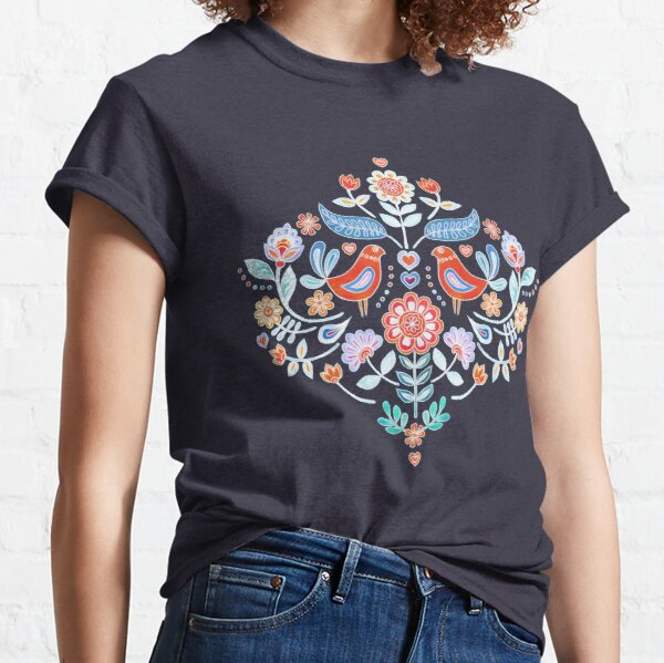 Happy Folk Summer Floral on Navy Classic T-Shirt