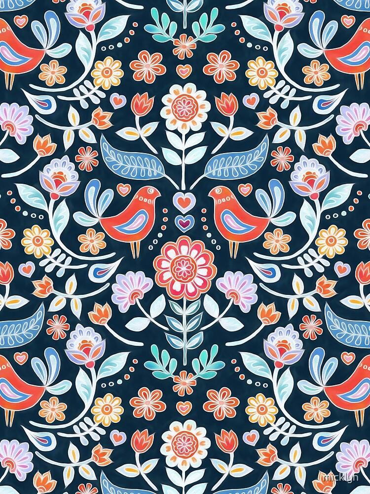 Happy Folk Summer Floral on Navy by micklyn