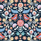 Happy Folk Summer Floral on Navy by micklyn