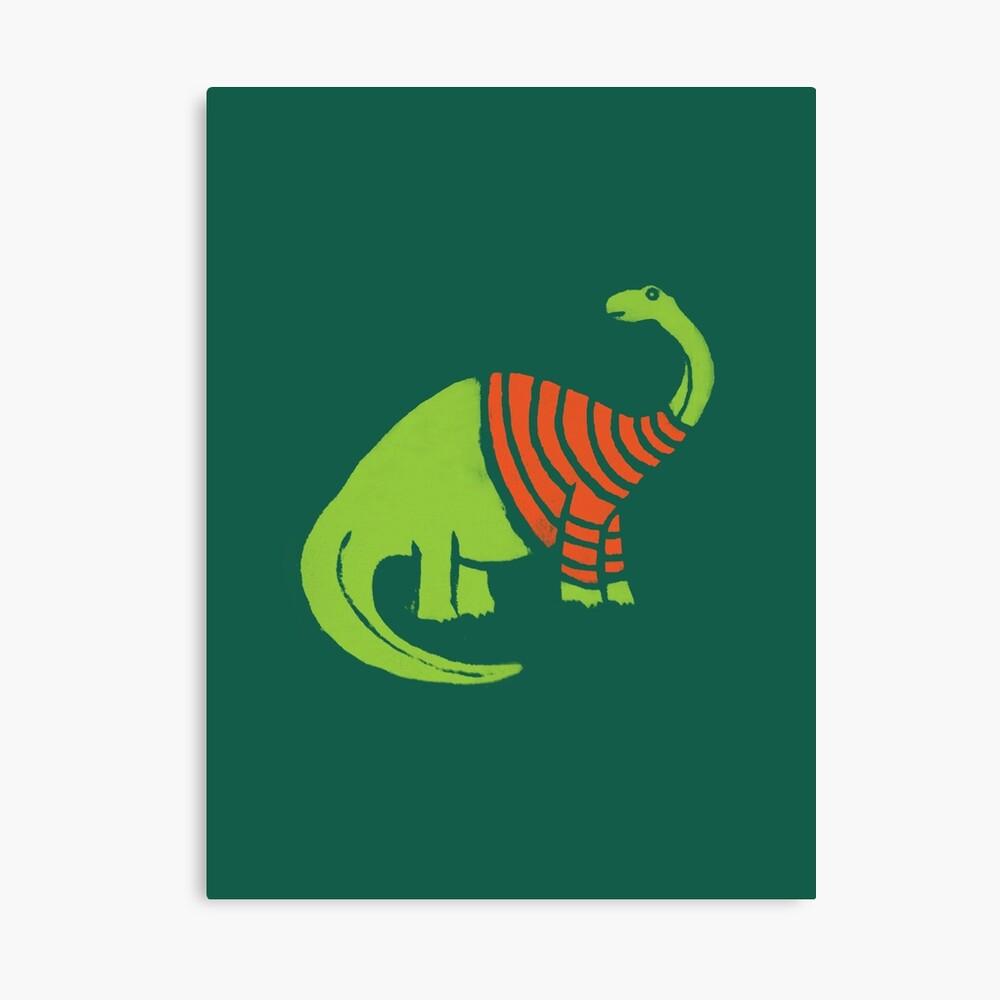 Brontosaurus in einer Strickjacke Leinwanddruck