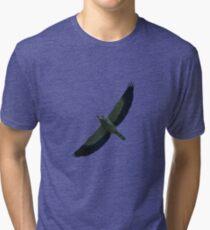 European Roller In Flight Silhouette Vector Tri-blend T-Shirt