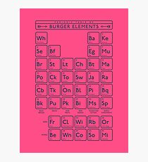 Periodic Table of Burger Elements - Magenta Photographic Print