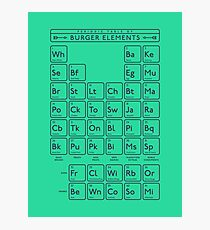 Periodic Table of Burger Elements - Green Photographic Print